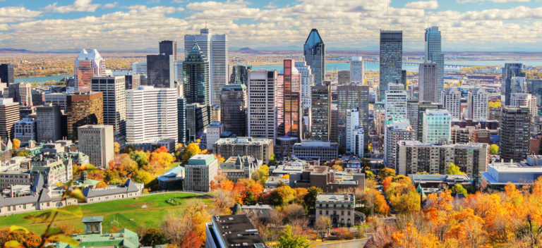 A Mountain view of Montreal City, Canada in the fall.  The sky is clear and it is a sunny day.  A cluster of gray, multiple-sized buildings are visible in the center of the photo.  Lush, fall foliage lines the front of the image, and a body of water is visible in the back of the photo.